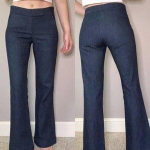 Theory wide leg flare trouser jeans dark wash 2
